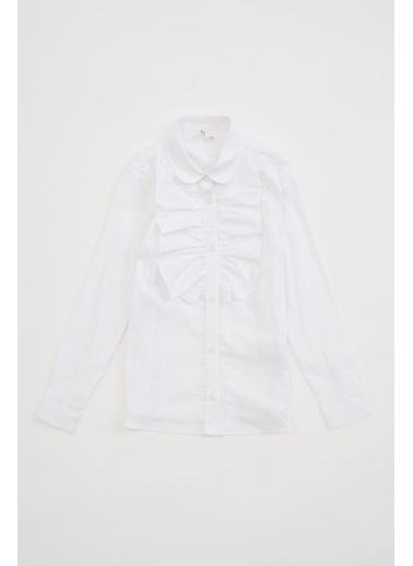 DeFacto Yakası Fırfır Detaylı Uzun Kollu Gömlek Beyaz